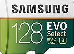 Samsung 128GB 100MB/s (U3) MicroSD EVO Select Memory Card with Adapter $20