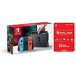 Nintendo Switch Console with Joycon Wireless Controls + 12 Month Nintendo Switch Online Individual Membership $276
