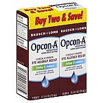 2-Pack 15ml Bausch & Lomb Opcon-A Allergy Relief Eye Drops $1.37