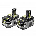 Ryobi 18-Volt ONE+ - 9Ah Li-Ion Battery: 2 for $139, 6Ah Li-Ion Battery: 2 for $99