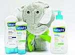 (Back) Cetaphil Baby Sensitive Skin Bath Time Essentials Gift Set with Elephant Hoodie Towel $14.39