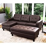 Claire Leather Reversible Sectional and Ottoman (Assorted Colors) by Abbyson Living $399
