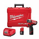 Milwaukee M12 FUEL 12-Volt Lithium-Ion Brushless Cordless 1/4 in. Impact Wrench + 2 2.0Ah Batteries/Charger/Hardcase $95 (50% Off)