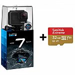 GoPro HERO7 Black Waterproof 4K Action Camera Touch Screen + 32GB microSD Card $300