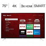 """75"""" TCL 75S423 4K UHD HDR Roku Smart LED HDTV (2019) $920"""