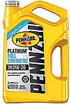 5-Qt Pennzoil Platinum Full Synthetic Motor Oil (SAE, SN) 0W-20 $10.68 (After Rebate)