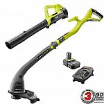 RYOBI ONE+ 18-Volt Lithium-Ion String Trimmer/Edger and Blower Combo Kit 2.0 Ah Battery and Charger Included $69 and more