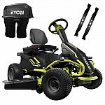RYOBI 38 in. 75 Ah Battery Electric Rear Engine Riding Lawn Mower and Bagging Kit $2599