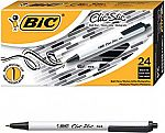 24ct BIC Clic Stic Retractable Ballpoint Pens (1.0mm) Black $3.90 (78% Off)