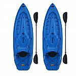 Lifetime Lotus 8-Ft Blue Kayak with Paddle & Backrest (2-Pack) $377 (orig. $478)