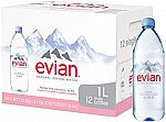 12-Pack 1-Liter Bottles of Evian Natural Spring Water $11 and more
