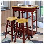 Casual Home - Drop Leaf Hardwood Breakfast Cart w/ 2 Wooden Stools $90