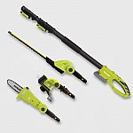 "Sun Joe 24V 41"" Cordless Lawn Care System With Hedge And Pole Saw Grass Trimmer Green $89.99"