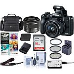 Canon EOS M50 Mirrorless Camera with 15-45mm STM Lens Black W/Pc Free Acc Bundle $599 and more