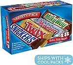 18-Ct Snickers, Twix, 3 Musketeers & Milky Way Full Size Bars $7
