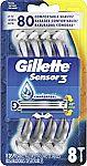 8-Count Gillette Sensor3 Men's Disposable Razors $4.59 and more
