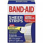 40-Count Band-Aid Sheer Strip Bandages $1.98 + $1 Amazon Credit