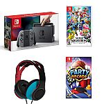 Nintendo Switch (Gray) + Party Arcade + Super Smash Bros. + Wired Headset $365