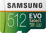 512GB Samsung EVO Select U3 MicroSD Memory Card w/ Adapter $95, 128GB for $20