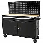 "Husky 52"" Tool Chest Mobile Workbench with Solid Wood Top and Flip-up Pegboard $198"