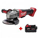 Milwaukee M18 FUEL 18-Volt Lithium-Ion Brushless Cordless 4-1/2 in./5 in. Grinder with Paddle Switch with Free M18 5.0Ah Battery $179 and more