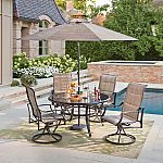 Up to 50% off Select Patio Furniture: Hampton Bay Statesville Pewter 5-Piece Aluminum Outdoor Dining Set $349 & More