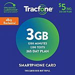 Tracfone Prepaid Wireless Smartphone Plan+SIM-1200 Min,1200 Txt, 3GB Data $49.99 and more