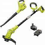RYOBI ONE+ 18-Volt Lithium-Ion String Trimmer/Edger and Blower + 2.6Ah Battery $89 & More