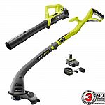Ryobi 18v Trimmer and Blower kit with 2.0 AH battery and charger $69.94 (Home Depot In Store only)