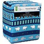 King Size Cotton Flannel Sheet Set $5.78