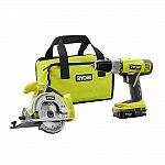 RYOBI 18-Volt ONE+ Lithium-Ion 2-Tool Combo Kit with Drill, Circular Saw $69.99