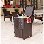 Suncast 77 Qt. Resin Wicker Cooler with Cabinet $99.97