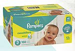 2 Boxes of Pampers for 50% Off + $15 Amazon GC + $20 Amazon GC: Newborn (120-Ct/Box) from $34; Size 1 (198-Ct/Box) from $48 (YMMV)