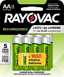 8-Count Rayovac AA 1350mAh Rechargeable Batteries $3.35