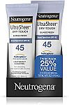 2-Pk Neutrogena Ultra Sheer Sunscreen Lotion w/ Broad Spectrum (SPF 45) $8.39 or Less