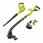 RYOBI ONE+ 18-Volt Cordless String Trimmer and Blower Combo Kit + 2.6 Ah Battery $79