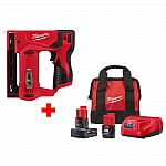 Milwaukee M12 12-Volt Lithium-Ion Cordless 3/8 in. Crown Stapler + 2 Batteries, Charger and Bag $99 and more