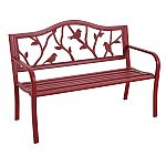 Garden Treasures 23.5-in W x 50.4-in L Red Steel Patio Bench $64 and more (YMMV)