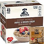 48-Count Quaker Instant Oatmeal (Maple & Brown Sugar) $6.82