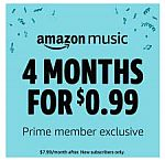 4 months of Amazon Music Unlimited (New subscribers only) 0.99