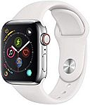 Apple Watch Series 4 (GPS + Cellular, 40mm) - Stainless Steel Case with White Sport Band $499 (Save $200)