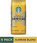 6-Pack Starbucks Blonde Sunrise Blend Light Roast Ground Coffee 6oz $19.70