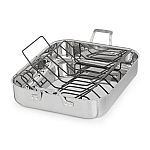 Calphalon Signature 7 Qt. 16 in. Stainless Steel Roaster with Rack $63 (Was $150) & More