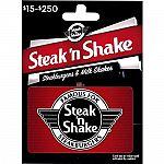Prime Deal: $50 Steak & Shake Gift Card $39.50
