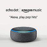 Echo Dot (3rd Gen) Smart Speaker + 6-Months Amazon Music Unlimited $22 (New Customers)