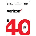 $40 Verizon Wireless Prepaid Refill Card (Email Delivery) $33.40