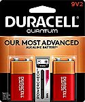 2-Count Duracell Quantum 9V Alkaline Batteries $2.50