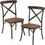 Set of 2 Camrose Farmhouse Chairs w/ Woven Wicker Seat $40 and more