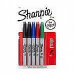 5-Pack Sharpie Permanent Fine-Point Markers (Assorted or Black) $1 Each