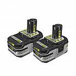2-Pack Ryobi 18V One+ 4.0Ah High Capacity Battery (HP or Non HP) $59.50 (50% Off)